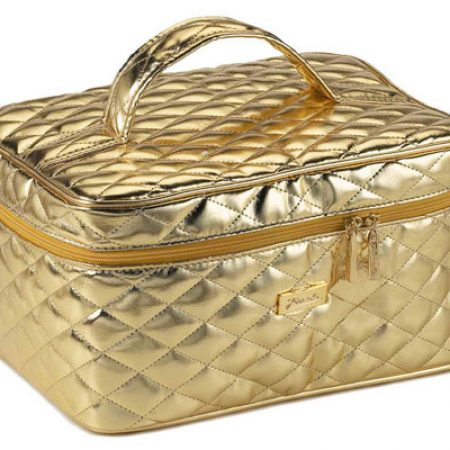 Quilted golden travel bag, medium Cod. A1952VT
