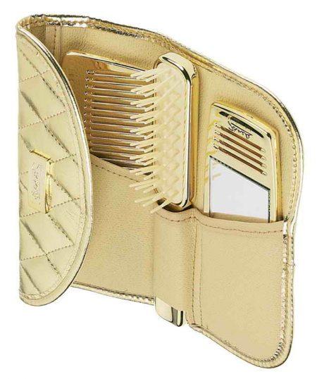 Косметичка золотистая с отделениями для расчёски,щётки и зеркала Код A1972
