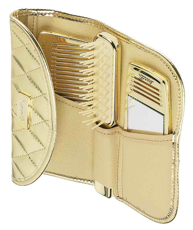 Quilted golden manicure-set comb, mirror and hair brush Cod. A1972