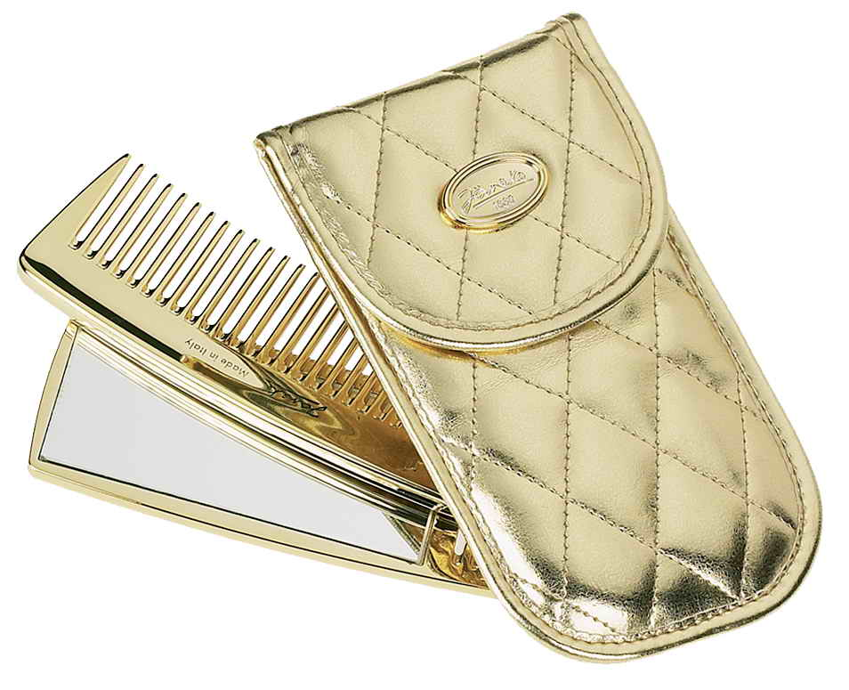 Quilted golden manicure-set comb and mirror Cod. A1974