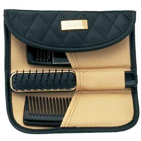 Футляр с расчёской,щёткой и зеркалом стёганый чёрный Код A6106-NER