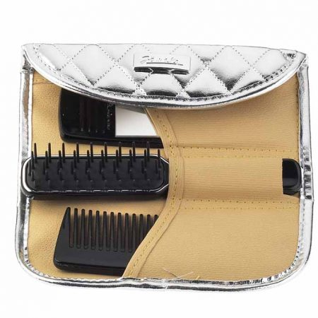 Silver quilted manicure-set comb, mirror and hair brush Cod. A6106 ARG