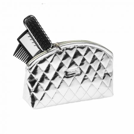 Silver quilted pouch, medium Cod. A6111 ARG