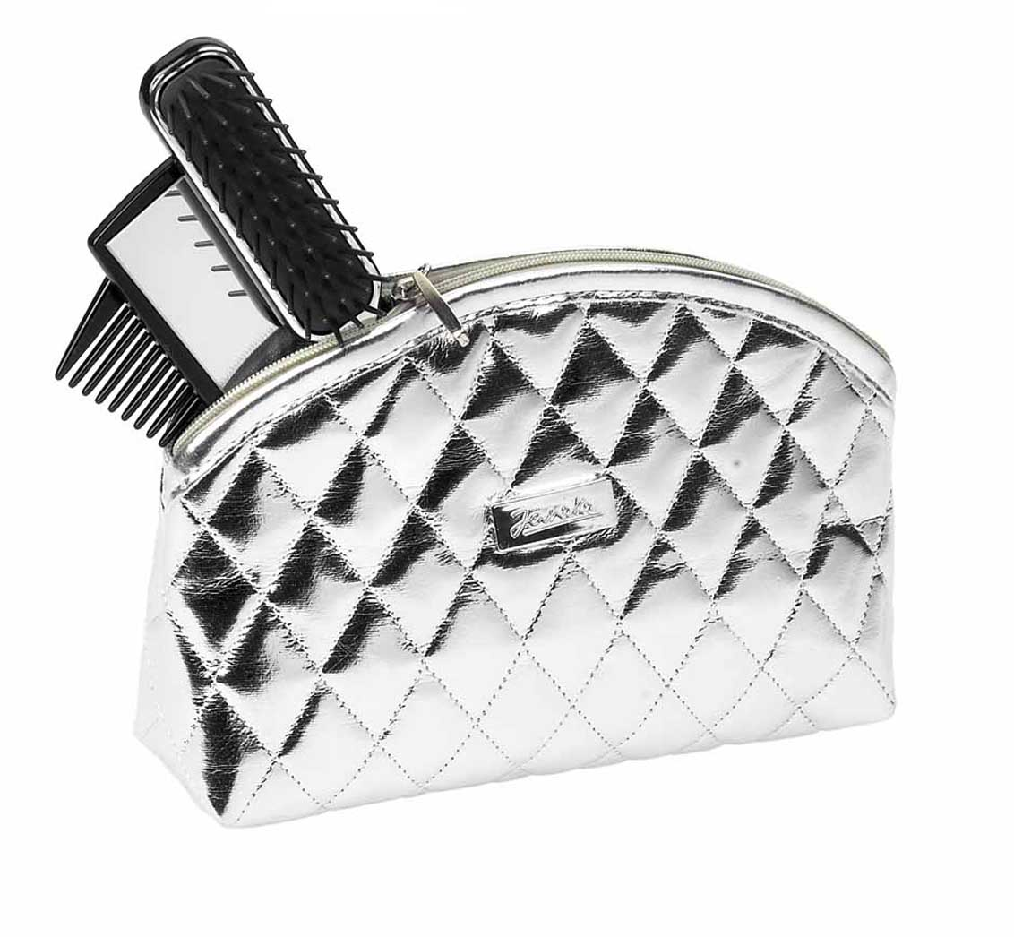 Silver quilted pouch, big Cod. A6112 ARG