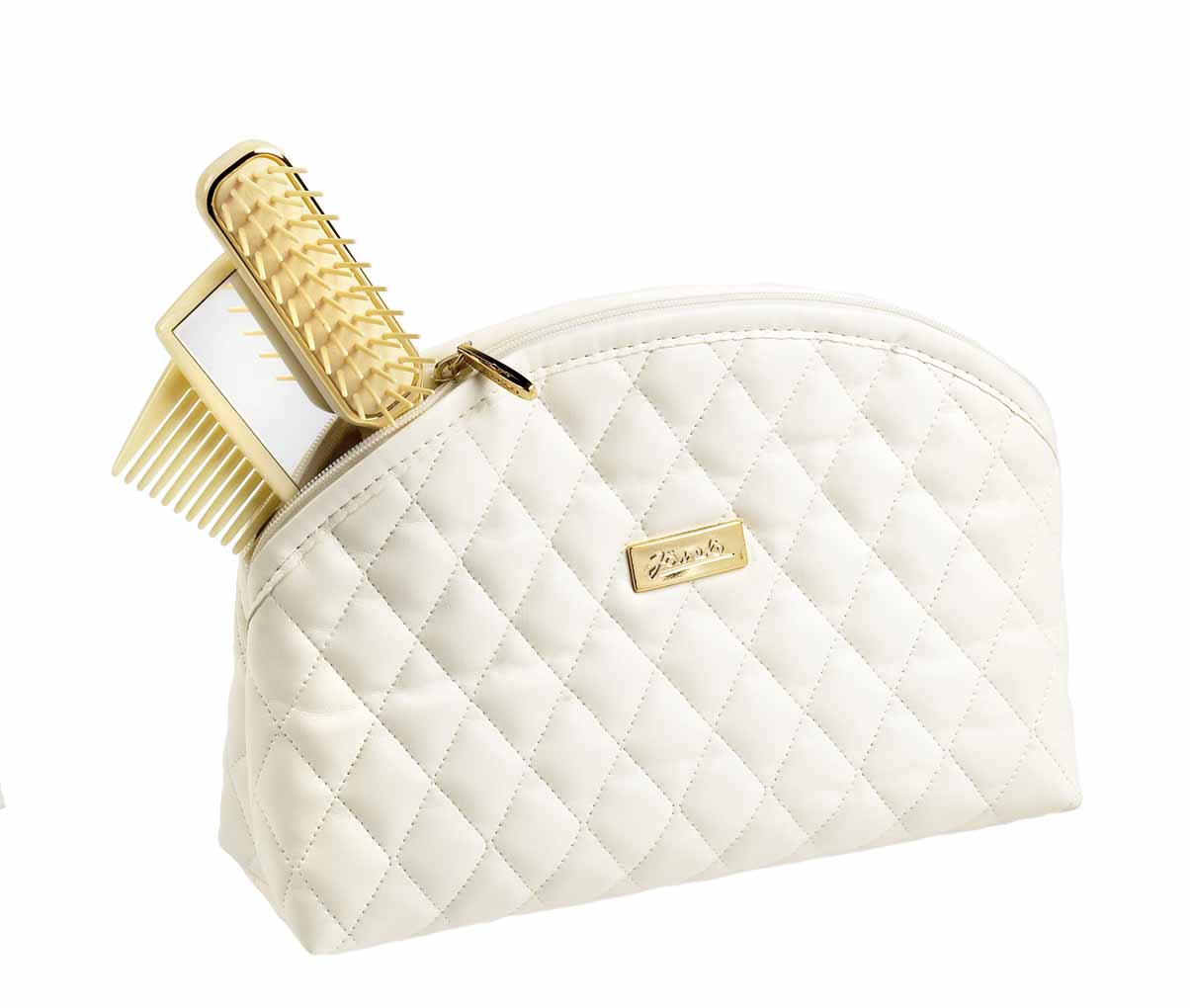 Beige quilted pouch, big Cod. A6112 BEI