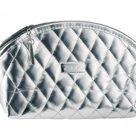 Silver quilted pouch, empty