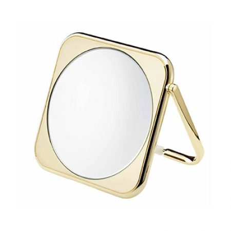 Golden square table mirror, Magnification X3, Diameter 190 Cod. AU425.3