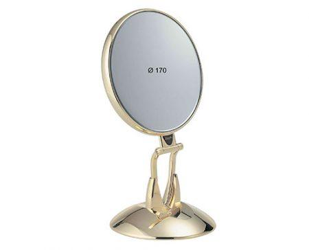 Golden table mirror with base Diameter 170 Cod. AU447.3 SU