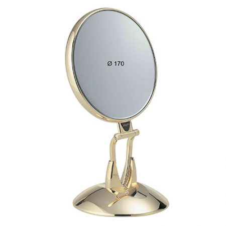 Golden table mirror with base Diameter 170 Cod. AU447.3 SU