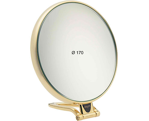 Golden table mirror, Magnification X3, Diameter 170 Cod. AU447.6