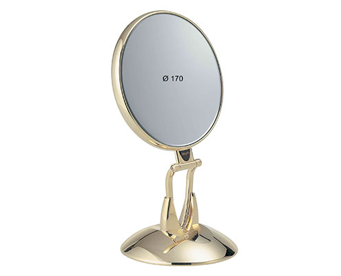 Golden table mirror with base Diameter 170 Cod. AU447.6 SU