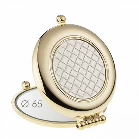 Golden handbag mirror with quilted element, Magnification X3, Diameter 65 Cod. AU484.3T1