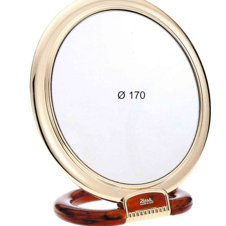 Tortoise-shell colour and gold table mirror, Magnification X6, Diameter 170 Cod. AU493.6 DBL