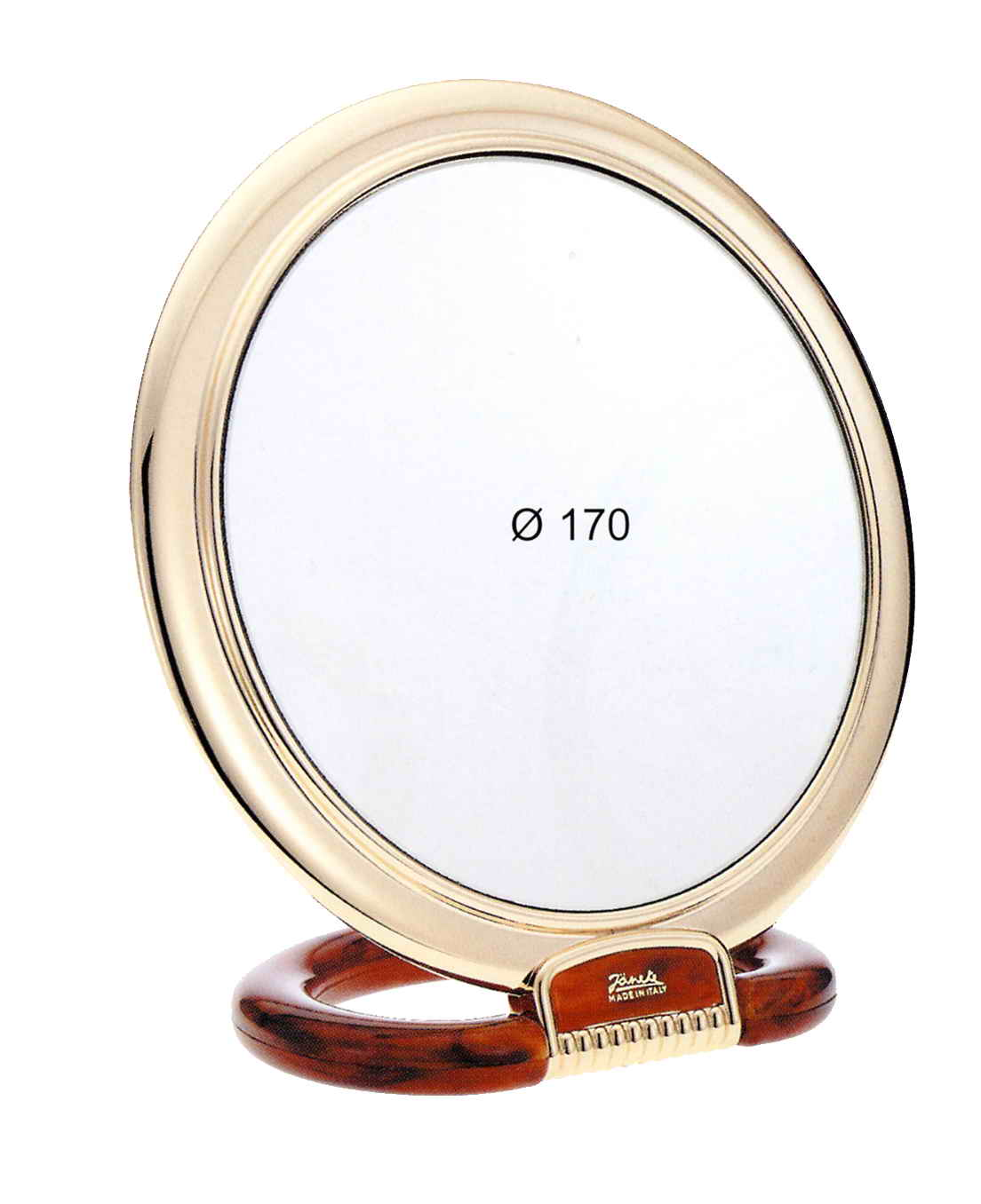 Tortoise-shell colour and gold table mirror, Magnification X6, Diameter 170 Cod.AU493.6 DBL