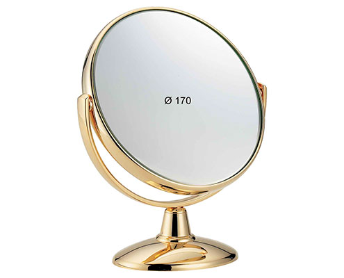 Golden table mirror, Magnification X3, Diameter 170 Cod. AU496.3