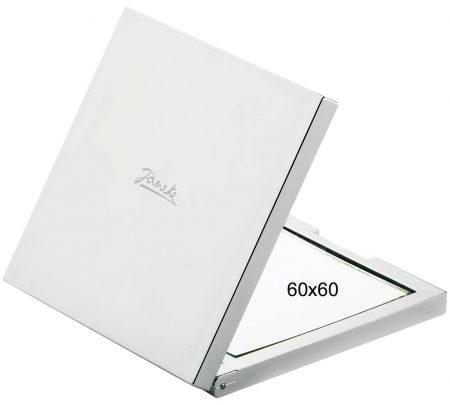 Зеркальце для сумочки квадратное хром Увеличение x3 60x60 Код CR400.3