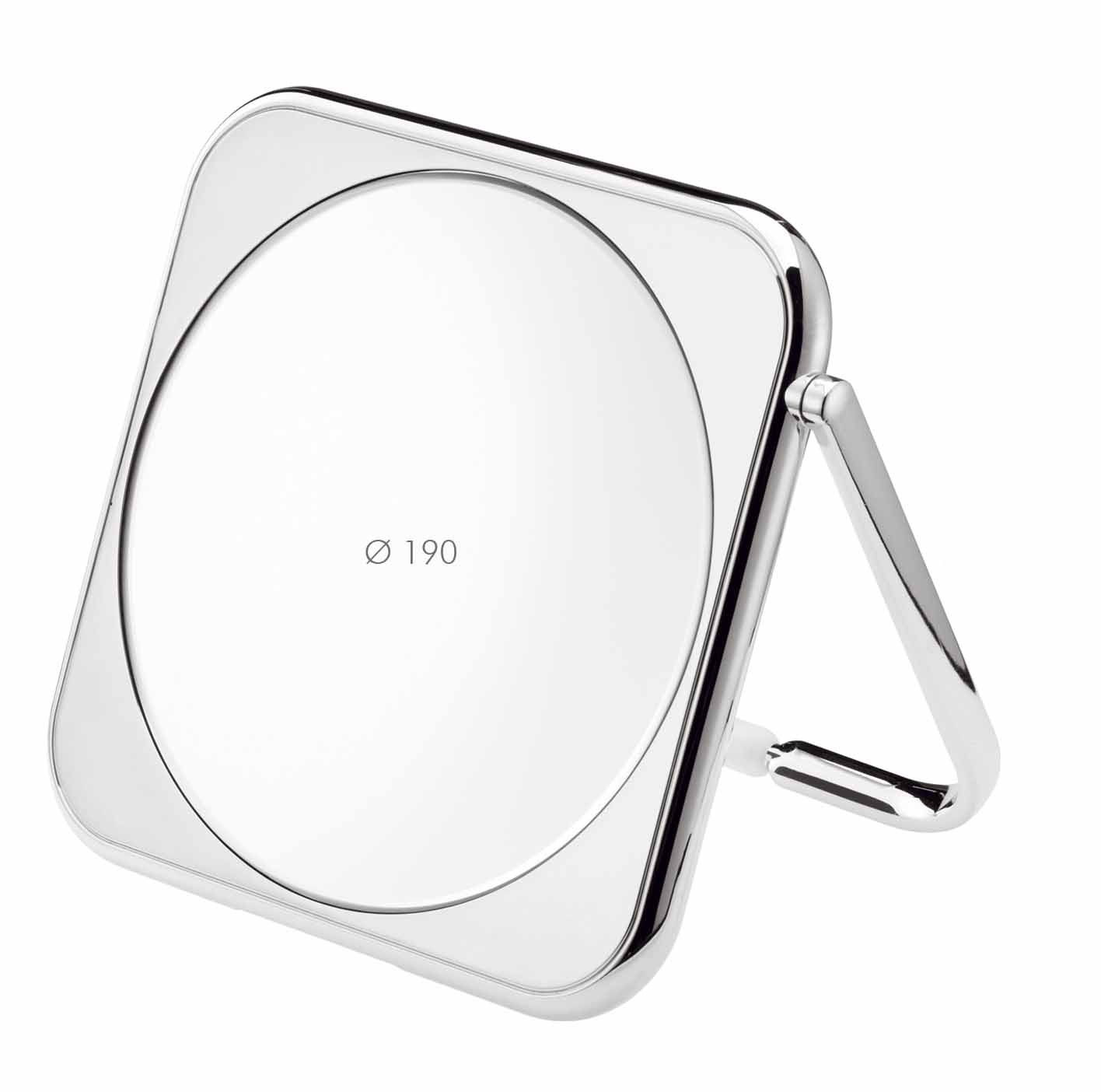 Chromium square table mirror, Magnification X3, Diameter 190 Cod. CR425.3