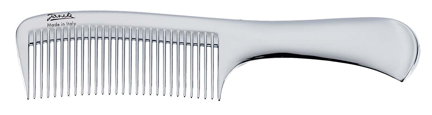 Chromium wide-teeth comb with handle Cod. CR825