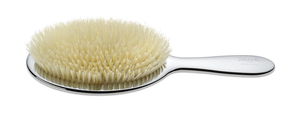 Chromium pneumatic brush with white bristles and Nylon reinforcement Cod. CRSP23SF BIA