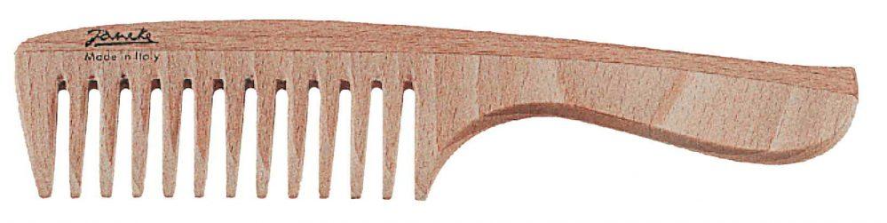 Расчёска из букового дерева с ручкой с редкими зубьями Код LG360