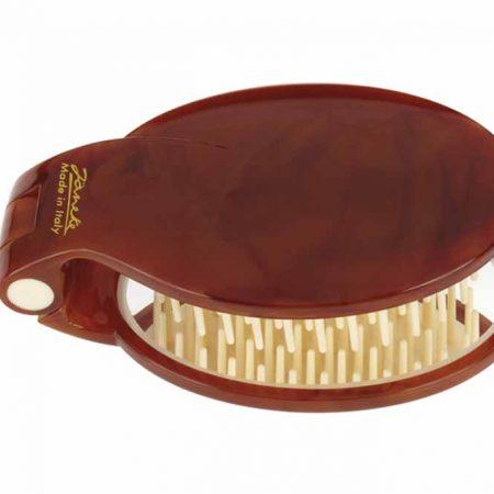 Щётка складная черепаховая с зеркалом 70x50 Код SP03 DBL