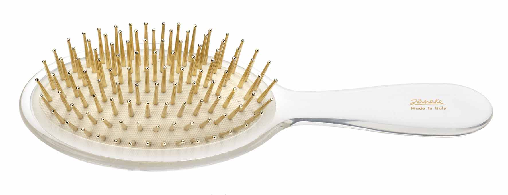 Trasparent oval brush with gold pins Cod. SP22G TRA