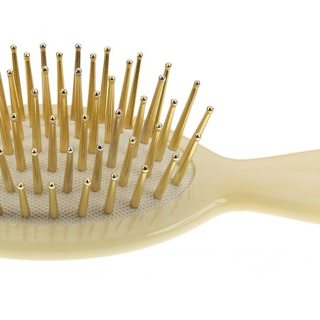 Hair-brush, small, horn imitation with gold pins Cod. SP24G CRN